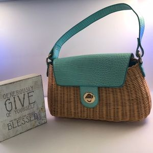 Fun wicker light Teal purse 👜 by Worthington